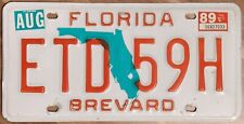 Original Nummernschild License Plate USA Florida 1989 BREVARD Plaque Targa