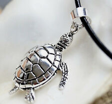 Groß Anhänger Silber H2O Schildkröte 3,6 x 2,3 cm beweglich Meer  Kettenanhänger