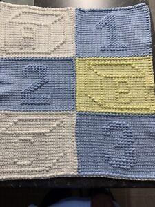Handmade Crochet Baby Bassinet Car Cot Floor Pram Blanket Pastel Colours 77 X 96
