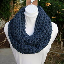 INFINITY SCARF LOOP COWL Solid Denim Blue Wool Winter Handmade Soft Crochet Knit