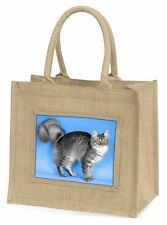 Silver Maine Coon Cat Large Natural Jute Shopping Bag Christmas Gift I, AC-15BLN