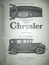 PUBLICITE DE PRESSE CHRYSLER IMPERIAL AUTOMOBILE OEUVRE D'ART FRENCH AD 1926
