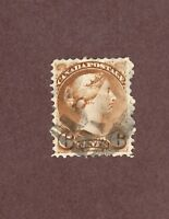 CANADA, Scott# 39, 6c Victoria. Brown, 1870-89, Used