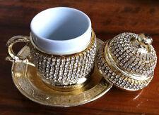 Tulip Turkish Espresso Coffee Mug Cup Porcelain Lid Saucer Swarovski Coated-Gold