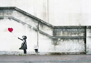 Canvas Print Wall Art Picture Painting Home Decor Banksy Red Balloon Girl Grey