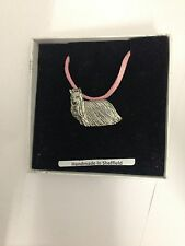Yorkshire Terrier PP-D05 Dog Pewter Pendant on a PINK CORD Necklace