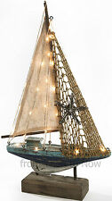 42.5cm LED Light Up Wooden Sailing Boat Yacht Model Sail & Net Nautical Vintage