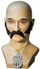 1970's-1980's-Shaft-Pimp-Disco-Black Moustache Sideburns Dollar Necklace Set
