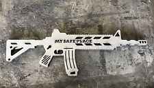 AR15 M16 Tactical F Your Safe Place Gun Silhouette Metal Wall Sign Cut Out