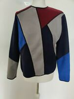 Women Top Faux Leather Colour Block Blue Grey Red Long Sleeve Autumn Blogger 14