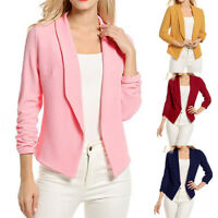 Hot Casual Slim Solid Suit Blazer Jacket Coat Outwear Women Fashion Candy Color