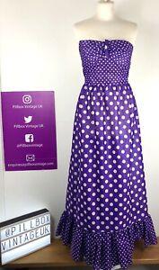 Stunning 70s Strapless Glitter Lurex Purple Spot Maxi Size 8-10