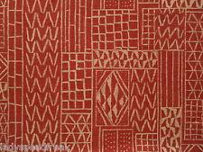 William Yeoward Curtain Fabric KHALANA 2.6m Brick Red Abstract Design -Linen Mix