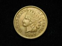SUMMER SALE!!  AU-BU 1907 INDIAN HEAD CENT PENNY w/FULL LIBERTY & DIAMONDS #43q