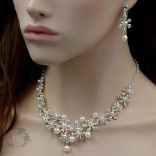 Silver Plated Pearl Crystal Necklace Earrings Bridal Wedding Jewelry Set 00530