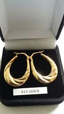 9ct gold pattern Creoles earrings