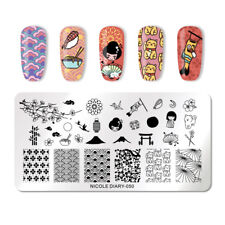NICOLE DIARY Nail Art Stamping Plates Stainless Steel Stamp Image Template 050