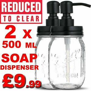 Soap Dispenser Washing Up Liquid Dispenser with Stainless Steel Pump Clear Glass