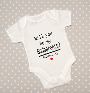 Will you be my Godparents? Baby Grow Announcement Bodysuit Babygrow Top Vest