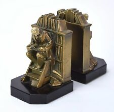 Vintage Hirsch Bookends Librarian Scholar on Library Steps