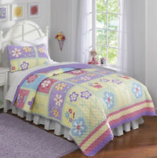 Laura Hart Kids 2Pc Twin Quilt & Sham Set ~ Bright Spring Pastel Colors ~ New!