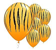 Tiger Striped Gold Balloons x 6 Jungle Safari Zoo Animals Party Decoration