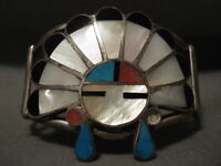 HUGE VINTAGE EARLY CHIEF ZUNI/ NAVAJO TURQUOISE CORAL SILVER BRACELET
