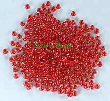 8/0 Round TOHO Japanese Glass Seed Beads #341- Crystal/Tomato Lined 10 grams