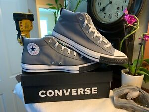 Men's Converse Chuck Taylor Street Mid Grey/White Black Toe Shoes Size 10 NEW