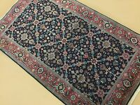 "3'.0"" X 5'.1"" Navy Blue Rose Fine Geometric Oriental Area Rug Hand Knotted Wool"