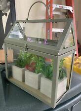 * New! Glass & Metal Quality 3 x Pot Plant Terrarium House 11 Inch x 10 L@K