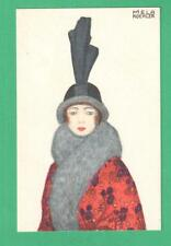 VINTAGE B.K.W.I. MELA KOEHLER ART POSTCARD FASHIONABLE LADY ELABORATE HAT FUR