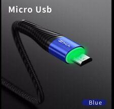 Pack de 2 Cables De Carga Rápida 1 m. micro usb negro/azul con luz led