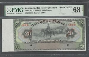 Venezuela 20 Bolivares (1930-38) PS311s Specimen Uncirculated Grade 68 Top Pop