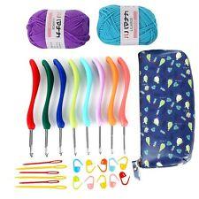 Soft Handle 8Pcs Set Needles Knit Weave Crochet Hooks Cute Case+2 Skeins Yarn