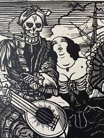 Maximilien Vox Gravure sur bois woodcut Capitaine Navire Musicien Femme Mort