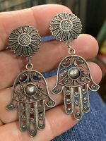 Vintage Turkish Silver Filigree Hamsa Hand Of Fatima Clip Dangle Earrings Turkey
