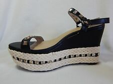 Torrid Platform Wedges 12 Studded Vegan Espadrille Black Ankle Strap Shoes Heels