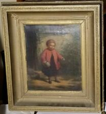 American Oil-1870's-Young Girl By Cabin-Great Period Frame-Little Gem-Sleeper