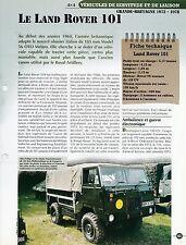 FICHE TECHNIQUE CHAR - LAND ROVER 101 - GRANDE-BRETAGNE 1972-1978