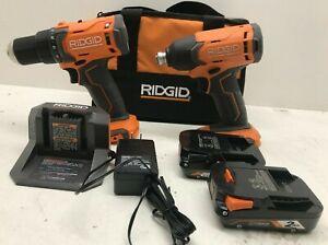RIDGID R9272 18V Cordless 2-Tool Combo Kit with (2)Batteries, Charger, & Bag,LN