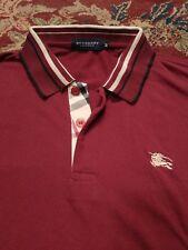BURBERRY Men's Polo Style 100% Cotton Medium MAROON S/S Shirt
