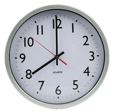 Design Wanduhr Basic XL Ø 30 cm Küchenuhr weiß silber Bahnhof Quarz Watch Küche