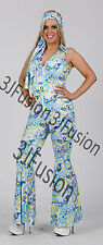 Ladies 1960s 1970s Hippy Fancy Dress Costume Hippie Flower Power Womens Outfit V