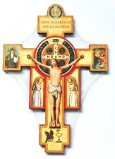 "SAINT ST BENEDICT 9"" WOOD CRUCIFIX CROSS - WALL HANGING - *NEW*"