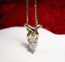 14K YELLOW GOLD .45CTW MARQUISE CUT SOLITAIRE PENDANT NECKLACE WITH BOX CHAIN 18