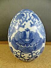 Cute Blue & White Decor Florals Flower Porcelain Egg Figurine Paperweight