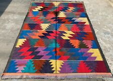 Hand Knotted Afghan Veg Dyed Surpuri Kilim Wool Area Rug 9.4 x 6.5 Ft (1489 Hm)