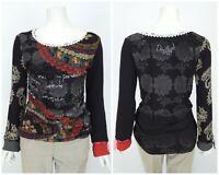Womens Desigual Blouse Shirt Black Cotton Viscose Long Sleeve Size L