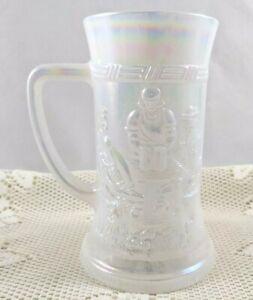 Milk White Carnival Glass Beer Steinw/ Tavern Scene